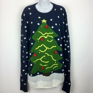 Ugly Christmas Sweater XL Tree Bells Pom Poms